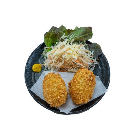 Japanese Food Cream Korokke or Croquettes mashed potatoes cheese balls  - Japanese Food Style on White Background