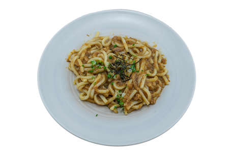 Fried Udon with Tuna Curry - Japanese Food Style on White Background Stock Photo
