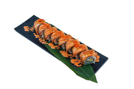 Salmon Spicy Roll - Japanese Food Style on White Background Stock Photo
