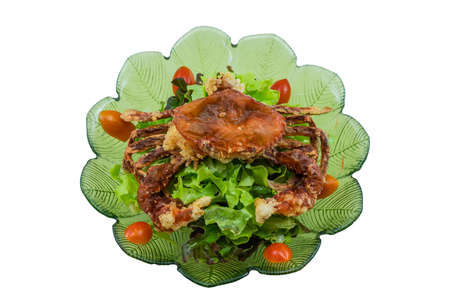 Asian Fusion Deep-Fried Crispy Soft Shell Crab with Fresh Garden Salad Prepared on White Blackground