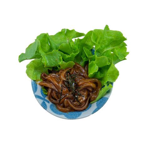 Shiokara Squid Dish, Fermented Squid on White Background