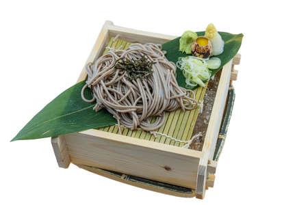 Zaru soba ramen is cold soba noodle - Japanese Food Style on White Background