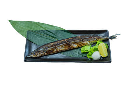 Grilled Pacific Saury Fish Steak - Japanese Food Style on White Background Stock Photo