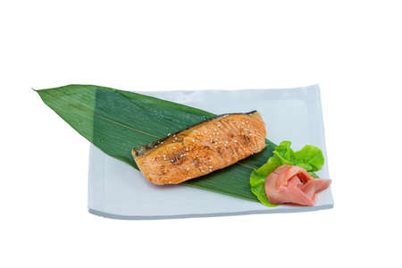 Grilled Salmon with Teriyaki Sauce Isolated in White Background