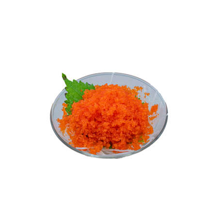 Japanese Food : Tobiko Salmon Roe served on Glass on White Background