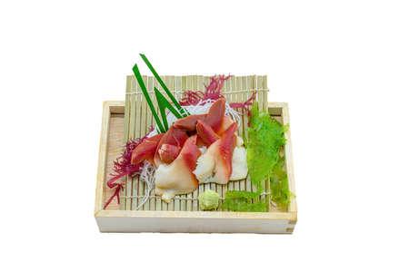 Japanese Food : Hokkigai Sashimi serve on Wooden Plate with Wasabi on White Background Stock Photo