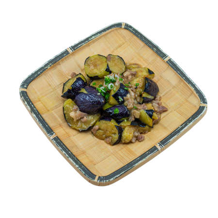 Japanese Food : Stir Fried Japanese Eggplant with Minced Pork on White Background