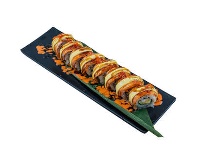 Salmon roll with burned cheese top with mentaiko sauce - Japanese Food Style on White Background