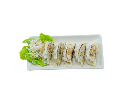 Grilled Dumpling isolated on White Plate on White Background, Gyoza