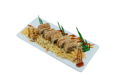 Unagi Maki Foiegras Roll - Japanese Food Style on White Background