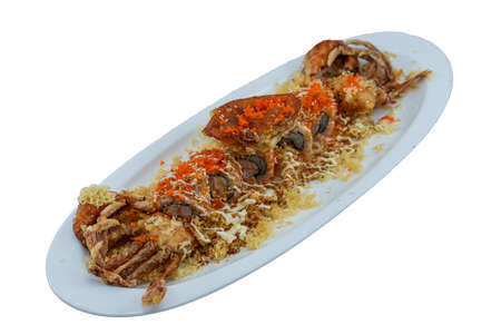 Soft-Shell Crab Roll - Japanese Food Style on White Background