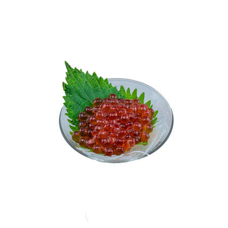 Japanese Food : Ikura Red Caviar served on Glass on White Background Stock Photo