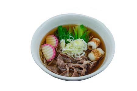Nabeyaki Udon is a hot udon noodle soup - Japanese Food Style on White Background