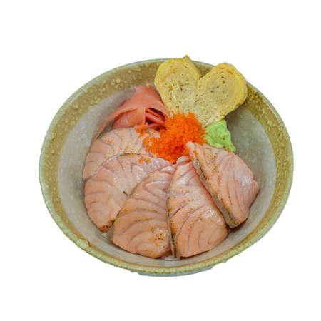 Japanese Food : Salmon Aburi Don Stock Photo