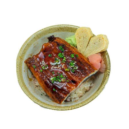 Japanese Food : Unagi Don with sweet egg Stock Photo