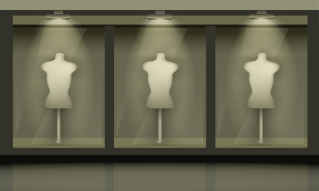 manikin: Shop with glass windows, front view. Vector exterior. Illustration
