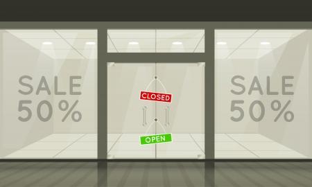 magasin: Boutique avec des fen�tres en verre et les portes, vue de face. Vecteur ext�rieur. Illustration
