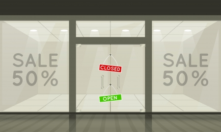 boutiques: Shop with glass windows and doors, front view. Vector exterior.