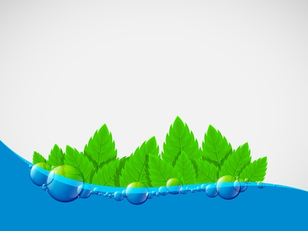 Water background with green leaves and the air bubbles. Vector art. Illustration