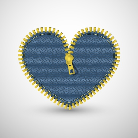 Blue denim heart, with zipper. Vector retro background. Vector
