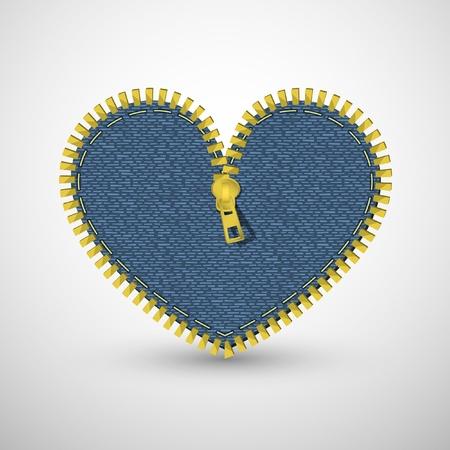 denim jeans: Blue denim heart, with zipper. Vector retro background.