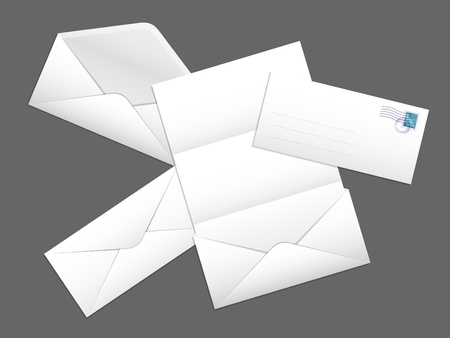 Vector mailing envelope with a letter and a postage stamp Vector