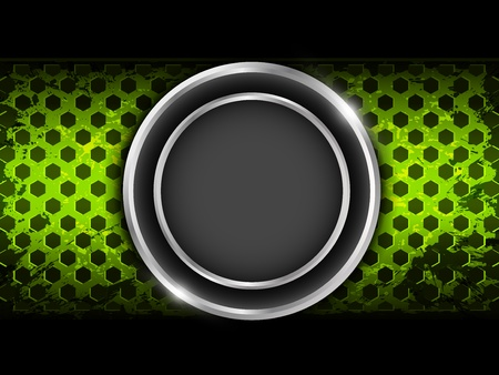 Abstract green background with metallic circle elements and hexagon perforated pattern plate  Part of set  Illustration