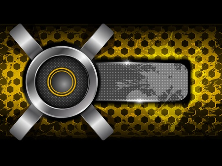 Abstract orange background with metallic circle speaker and hexagon perforated pattern plate  Part of set