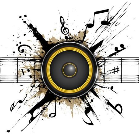 music banner: Abstracte achtergrond Sound spreker op inktvlekken Een deel van de muziek set