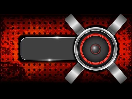 金属の円のスピーカーと穴あきパターン プレート セットの一部と抽象的な赤い背景  イラスト・ベクター素材
