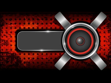 Abstract red background with metallic circle speaker and perforated pattern plate  Part of set  Ilustrace