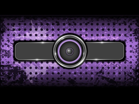 Abstract violet background with metallic circle speaker and perforated pattern plate  Part of set