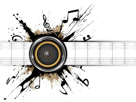 geluid: Abstracte achtergrond Sound spreker op inktvlekken Een deel van de muziek set