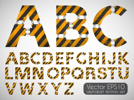 Dirty technical alphabet Vector set
