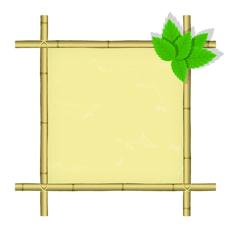 place for text: Isolated bamboo frame with green leaves