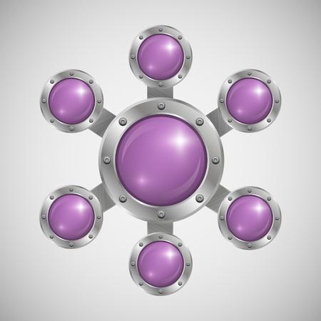 光沢のあるガラス泡音声セットの一部をエッジング アルミニウム  イラスト・ベクター素材