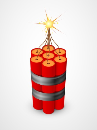 Dynamite with burning fuse Stock Vector - 12490499