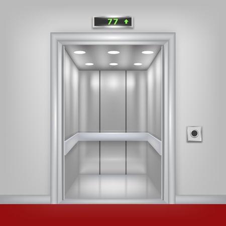 승강기: 세트의 열린 문을 부 벡터 3D 엘리베이터 일러스트