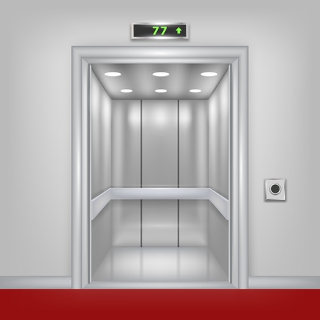 hotel lobby: Vector 3d elevator with opened doors  Part of set