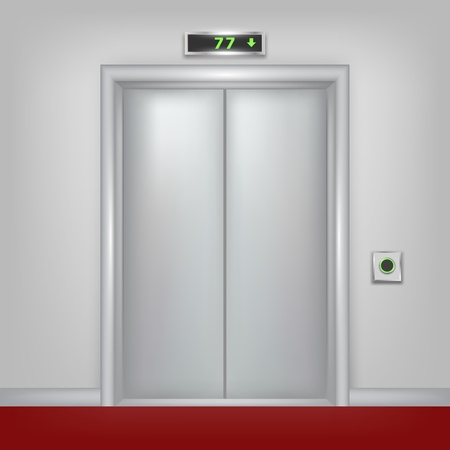 hotel lobby: Vector 3d elevator with closed doors  Part of set  Illustration