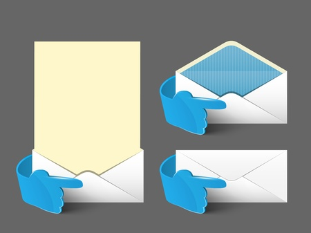 Vector post envelope and letter set  with 3d blue glass hand  Web signs element  Vector