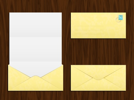 mailing: Vector mailing envelope with a letter and a postage stamp