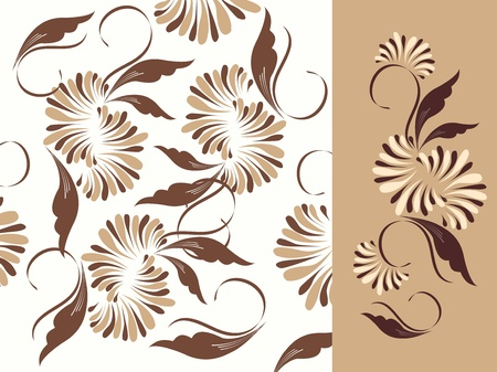 Floral pattern background and elements  Illustration