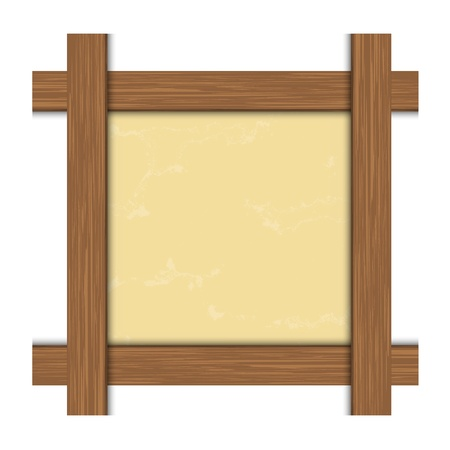yellow photo: Isolated wooden frame for photo  Vector illustration