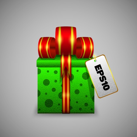 The green gift box with a big red ribbon and sticker Vector