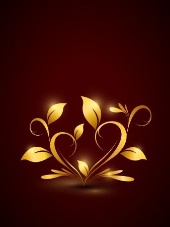 Golden floral background in heart shape  Part of set