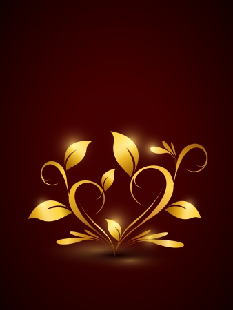 Golden floral background in heart shape  Part of set