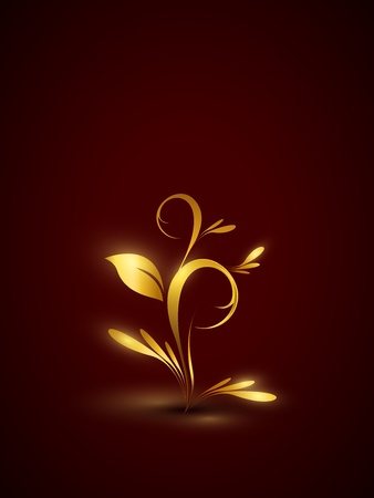 Golden floral background  Part of set  Vector