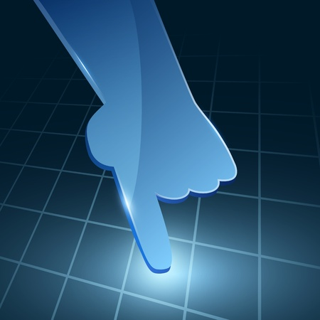 Vector 3d blue glass hand with line square background  Web element  Vector