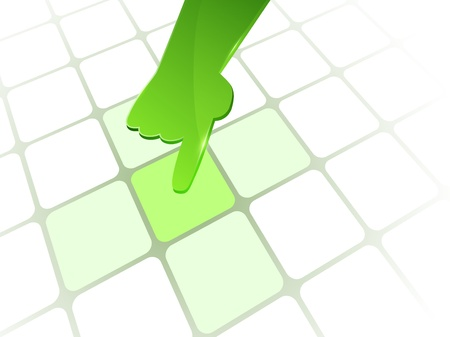 directive: Vector 3d green glass hand with line square background  Web element  Illustration